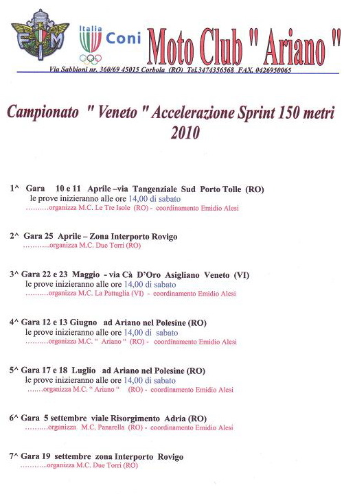 calendario accelerazione 2010 veneto